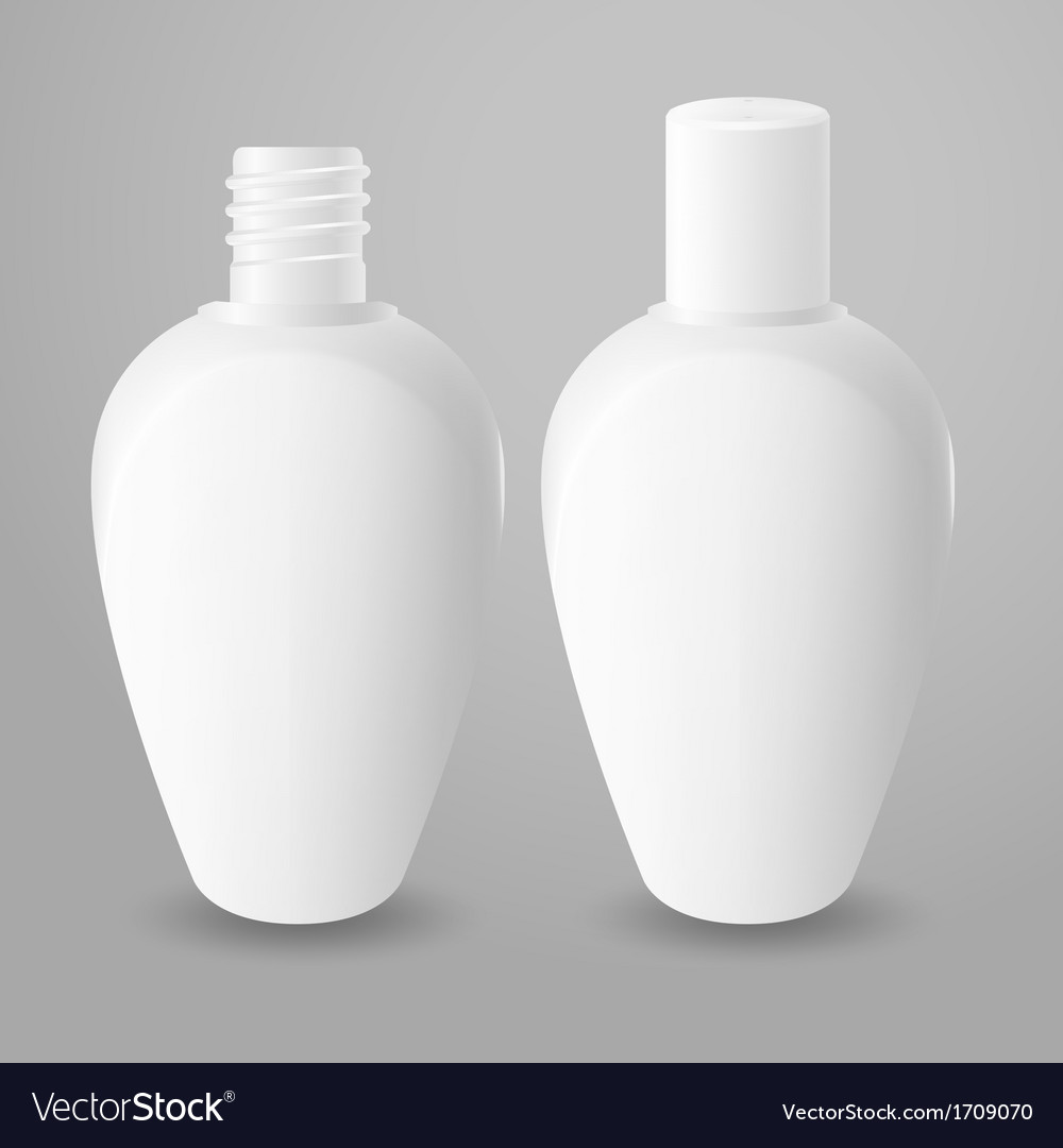 White plastic opened and closed bottles vector | Price: 1 Credit (USD $1)