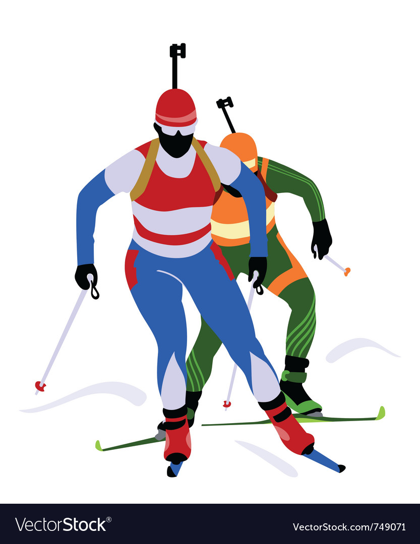 Biathlon race vector | Price: 1 Credit (USD $1)