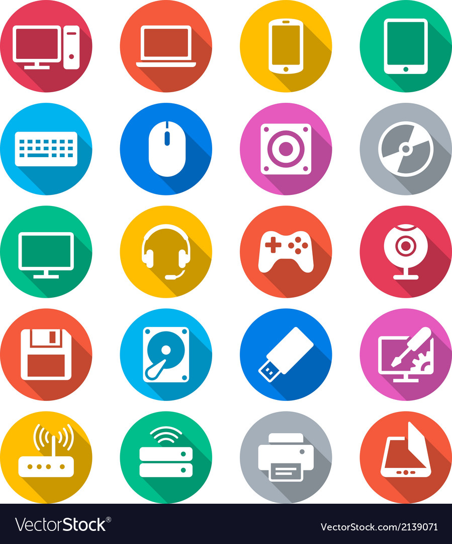 Computer flat color icons vector | Price: 1 Credit (USD $1)