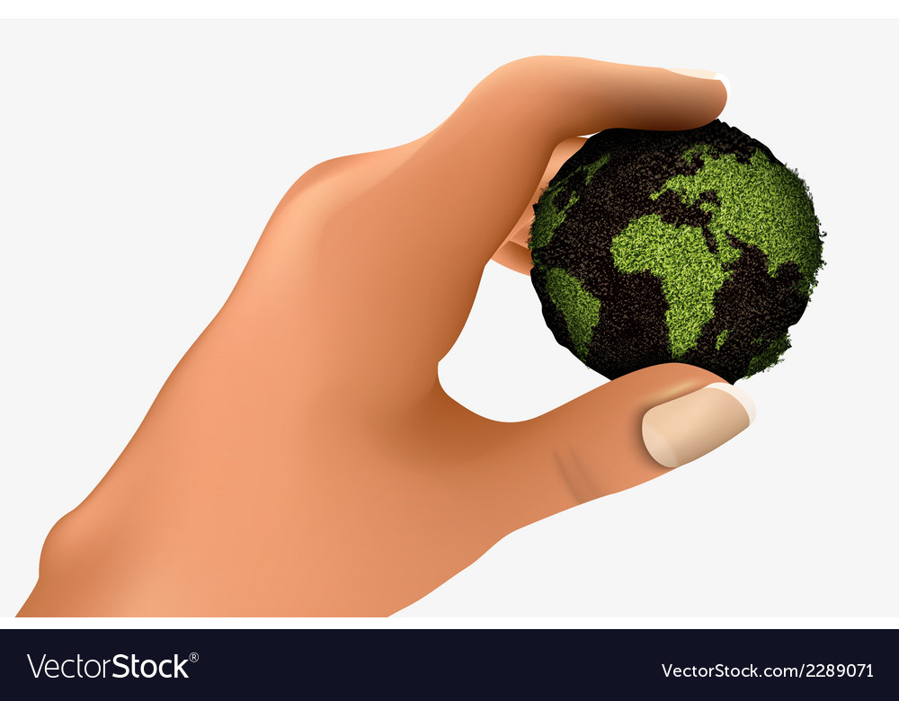 Green planet in the palm vector   Price: 1 Credit (USD $1)
