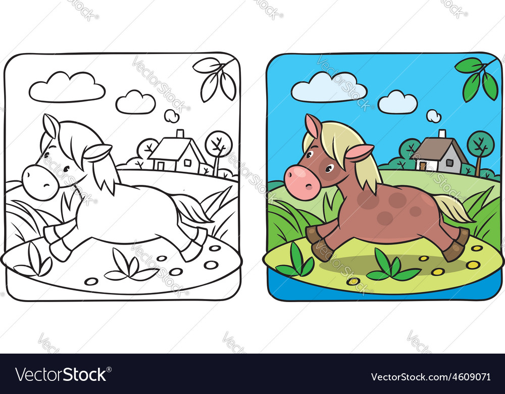 Little horse or pony coloring book vector | Price: 1 Credit (USD $1)