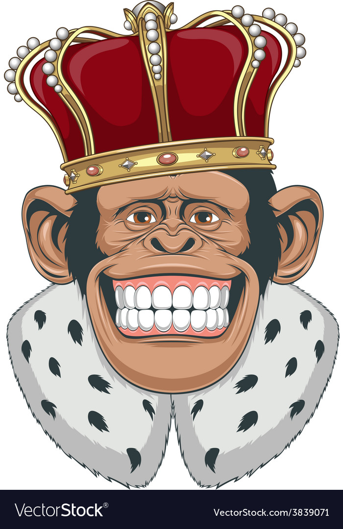 Monkey in a crown vector | Price: 3 Credit (USD $3)