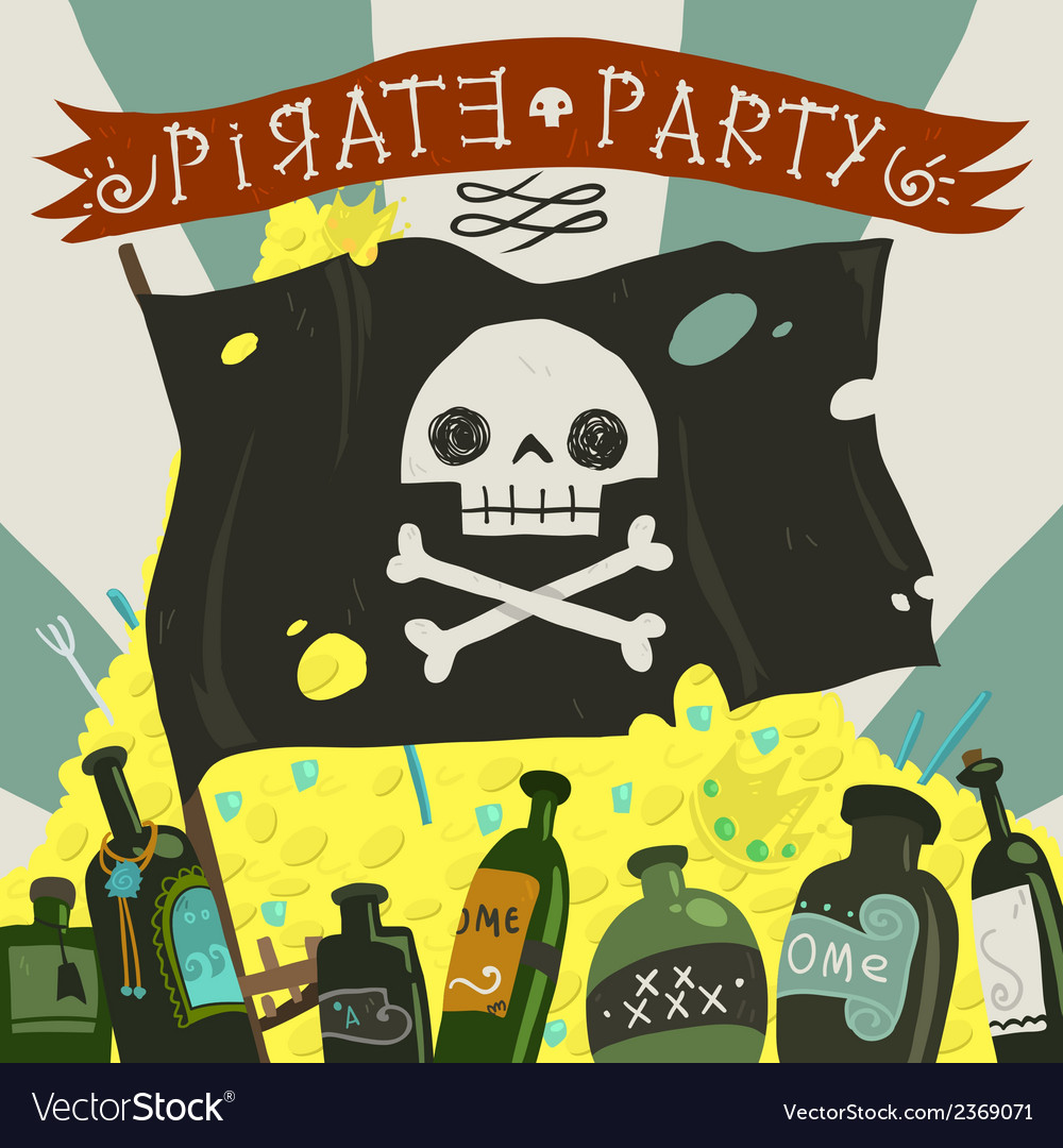 Pirate party card vector | Price: 1 Credit (USD $1)