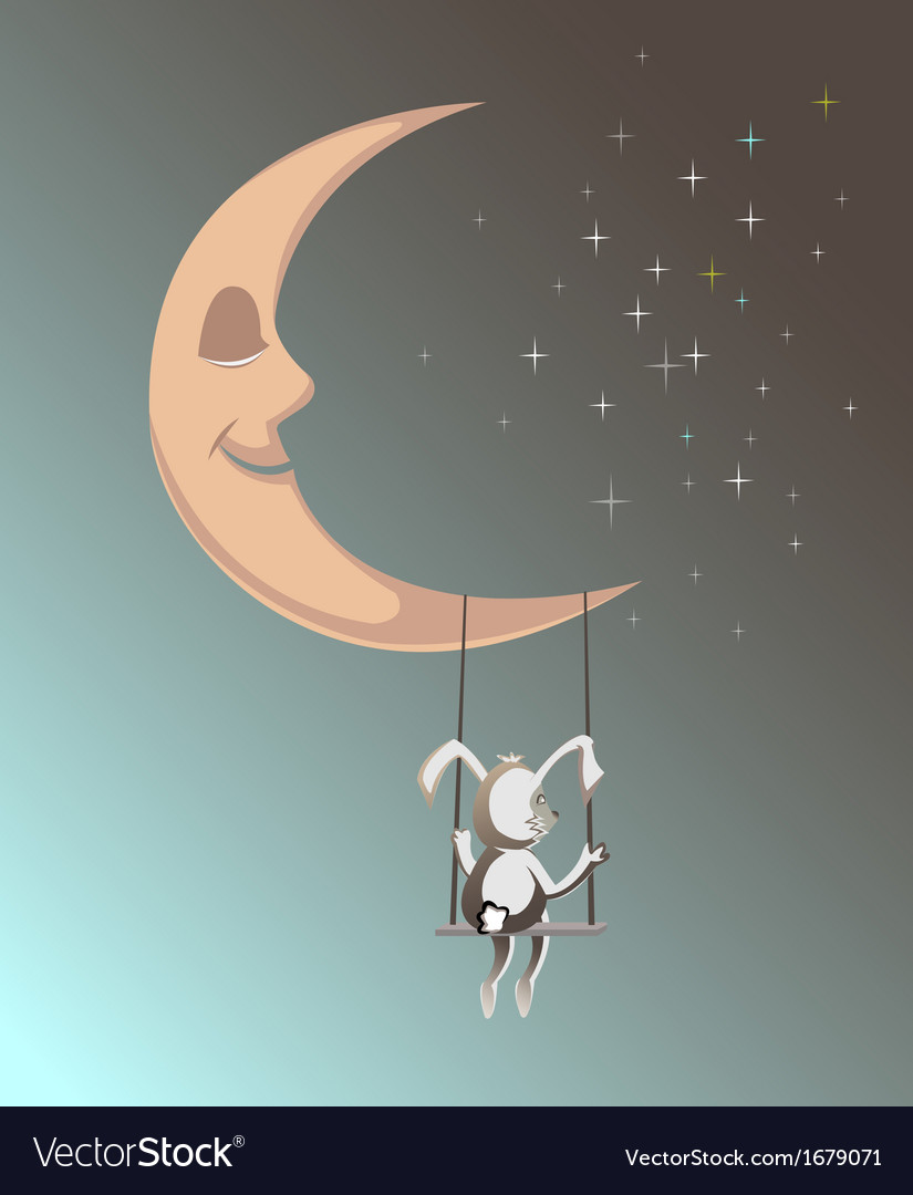 Smiling moon with rubbit1 vector | Price: 1 Credit (USD $1)