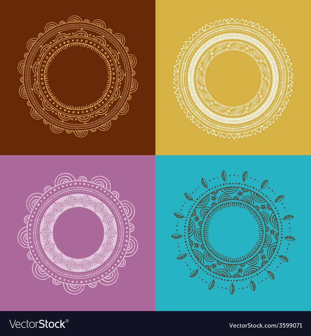 Tribal bohemian mandala background with round vector | Price: 1 Credit (USD $1)