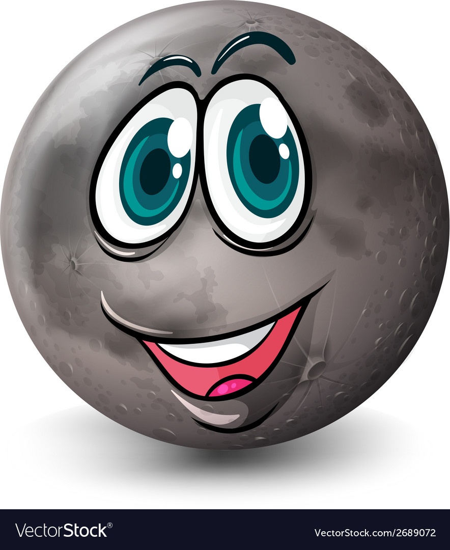A grey planet with a face vector | Price: 1 Credit (USD $1)