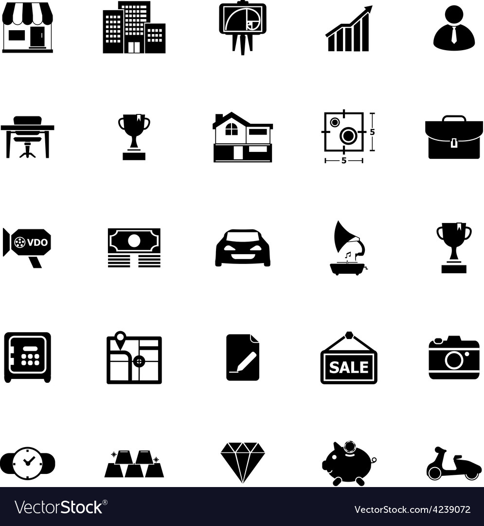 Asset and property icons on white background vector | Price: 1 Credit (USD $1)