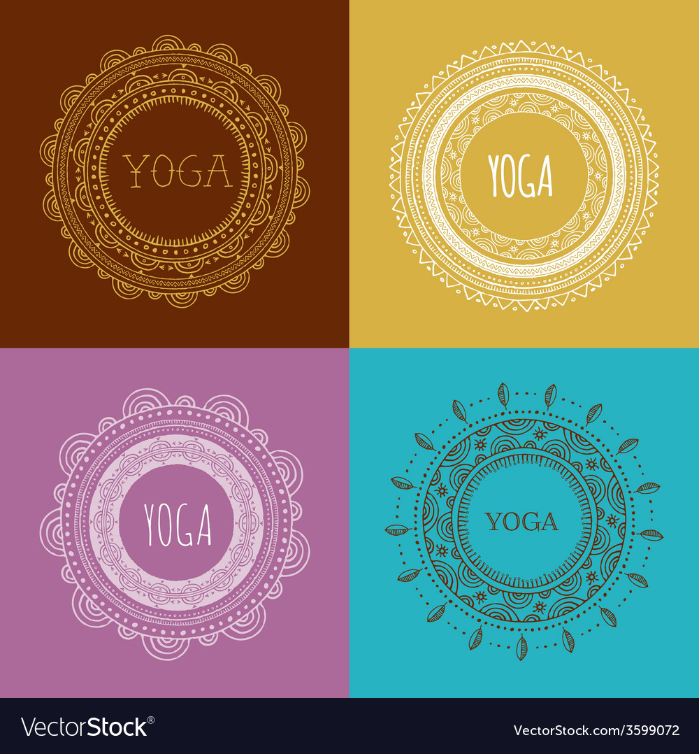 Bohemian mandala and yoga background with round vector