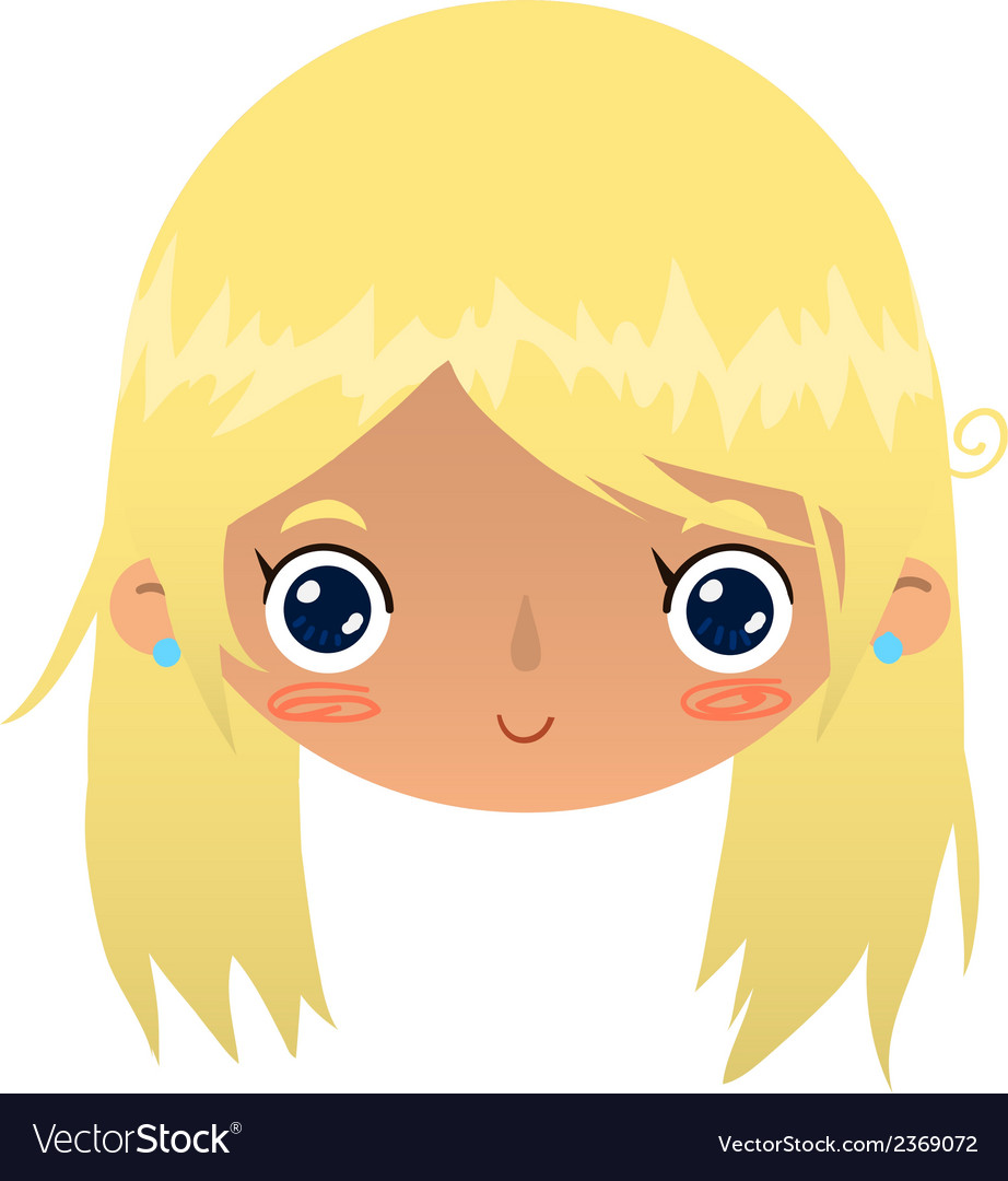 Cartoon blonde girl face vector | Price: 1 Credit (USD $1)