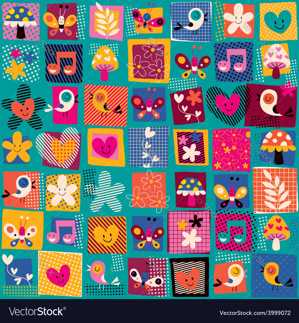 Cute flowers birds hearts pattern 2 vector | Price: 1 Credit (USD $1)