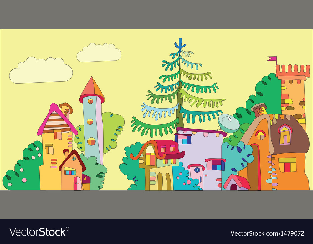 Fairytale town vector | Price: 3 Credit (USD $3)