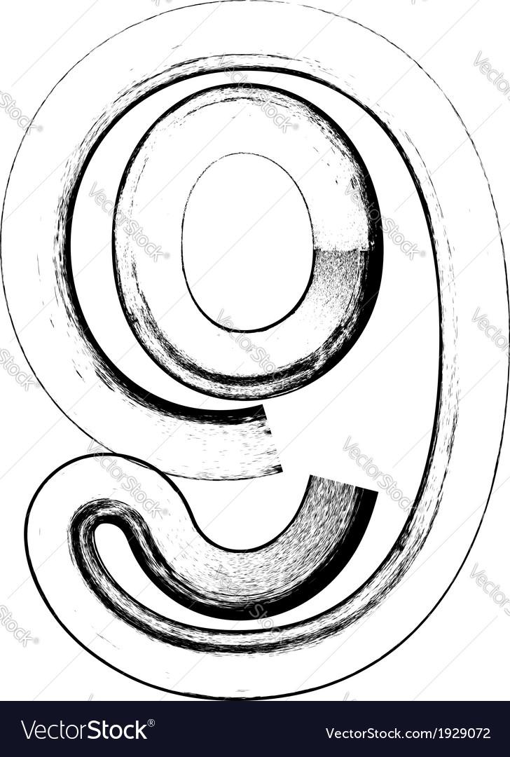Grunge font number 9 vector | Price: 1 Credit (USD $1)
