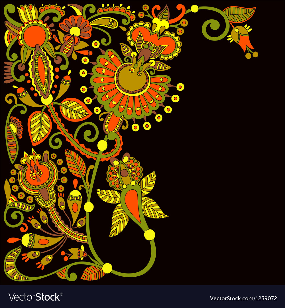 Hand draw ornate floral pattern vector | Price: 1 Credit (USD $1)