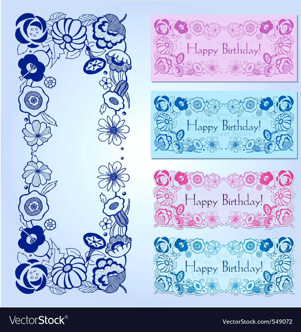 Happy birthday label design with floral frame vector | Price: 1 Credit (USD $1)