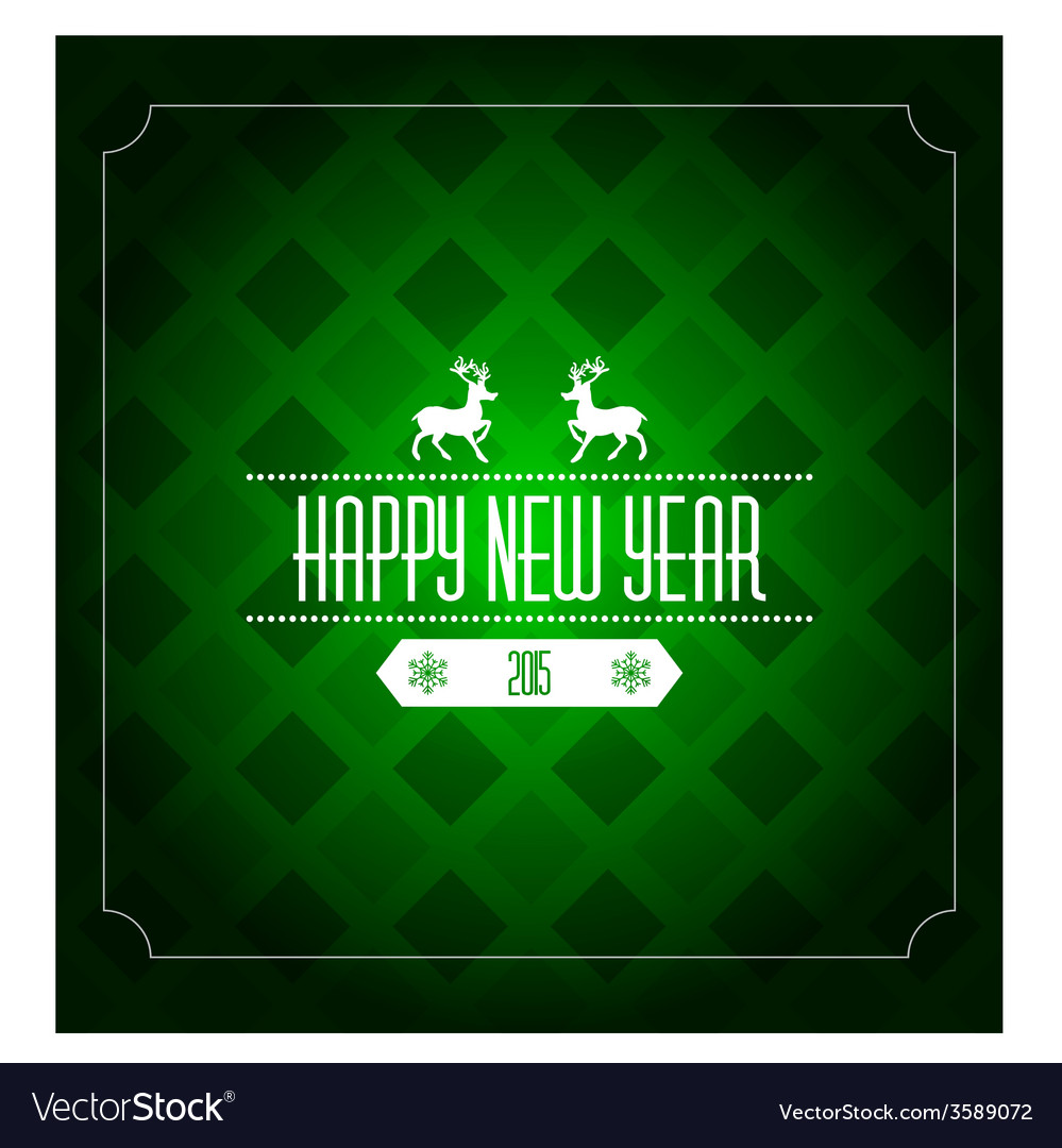 Happy new year 2015 greeting card template - green vector | Price: 1 Credit (USD $1)