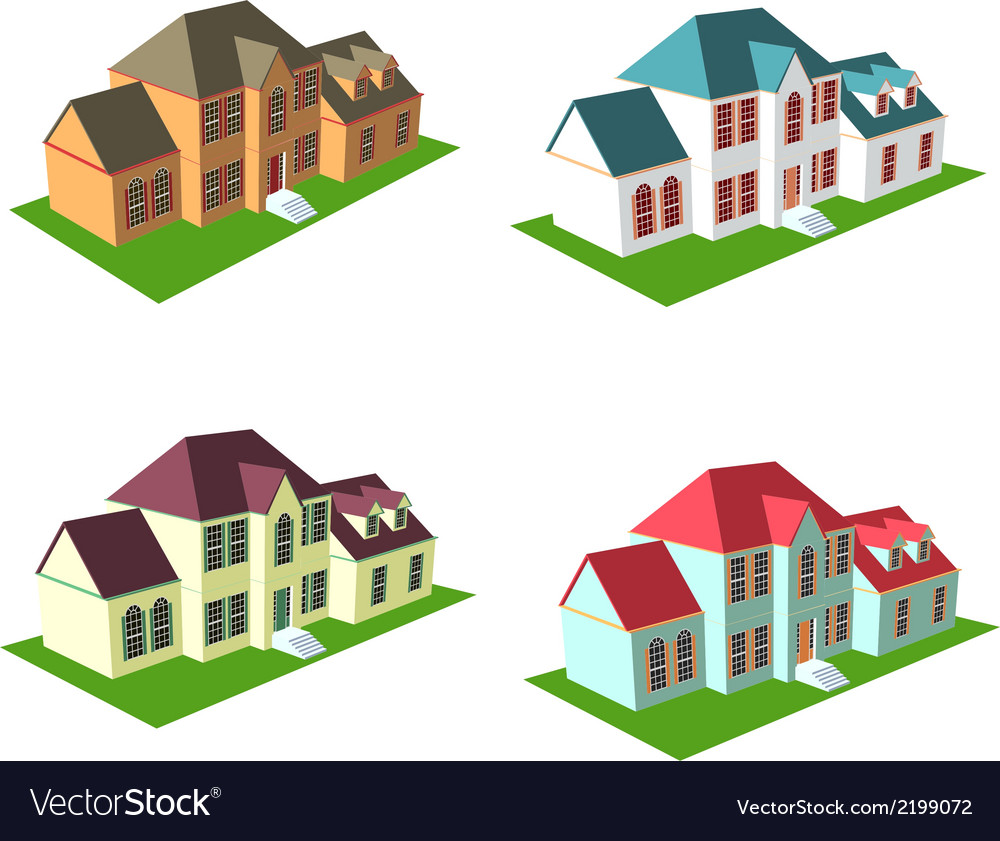 Isometric house style 3 vector | Price: 1 Credit (USD $1)