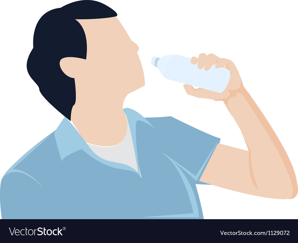 Man bottle drinking water graphic vector | Price: 1 Credit (USD $1)