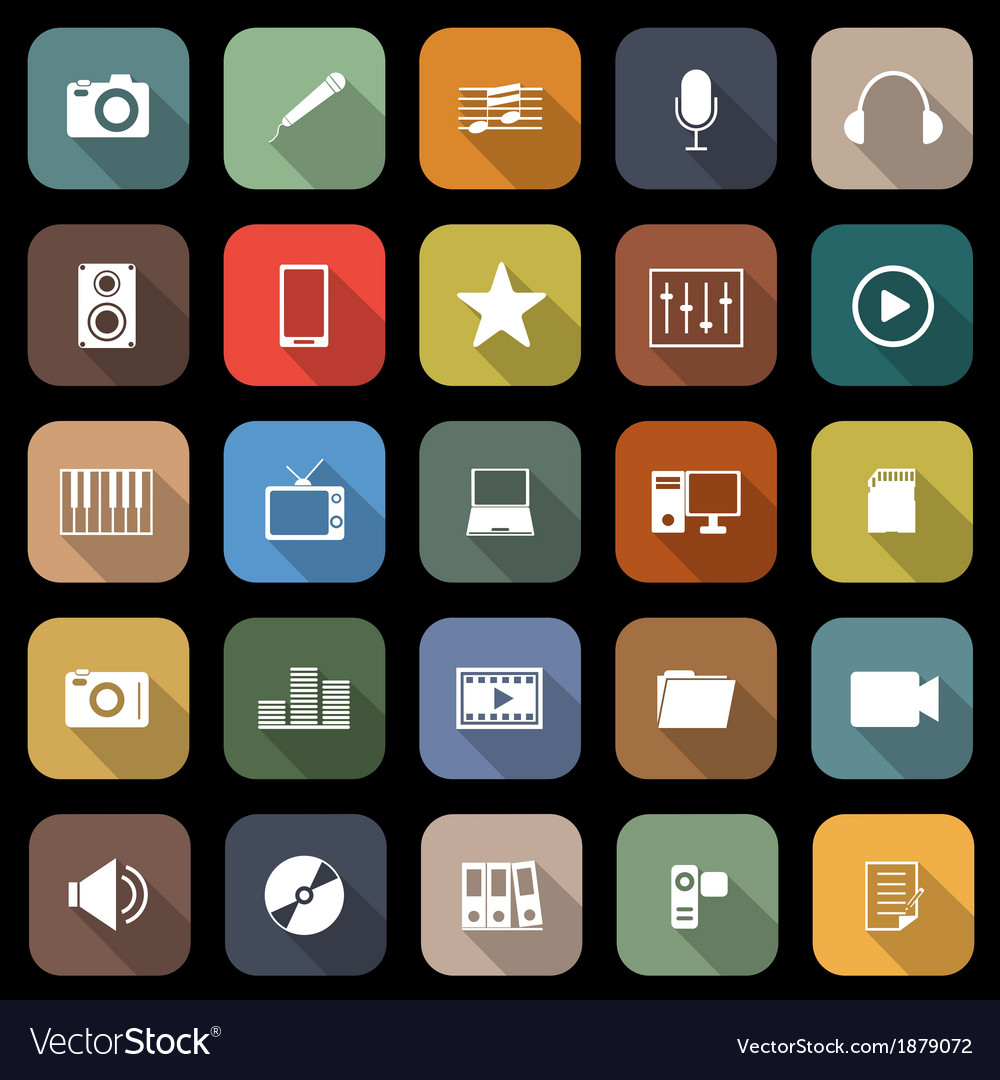 Media flat icons with long shadow vector | Price: 1 Credit (USD $1)