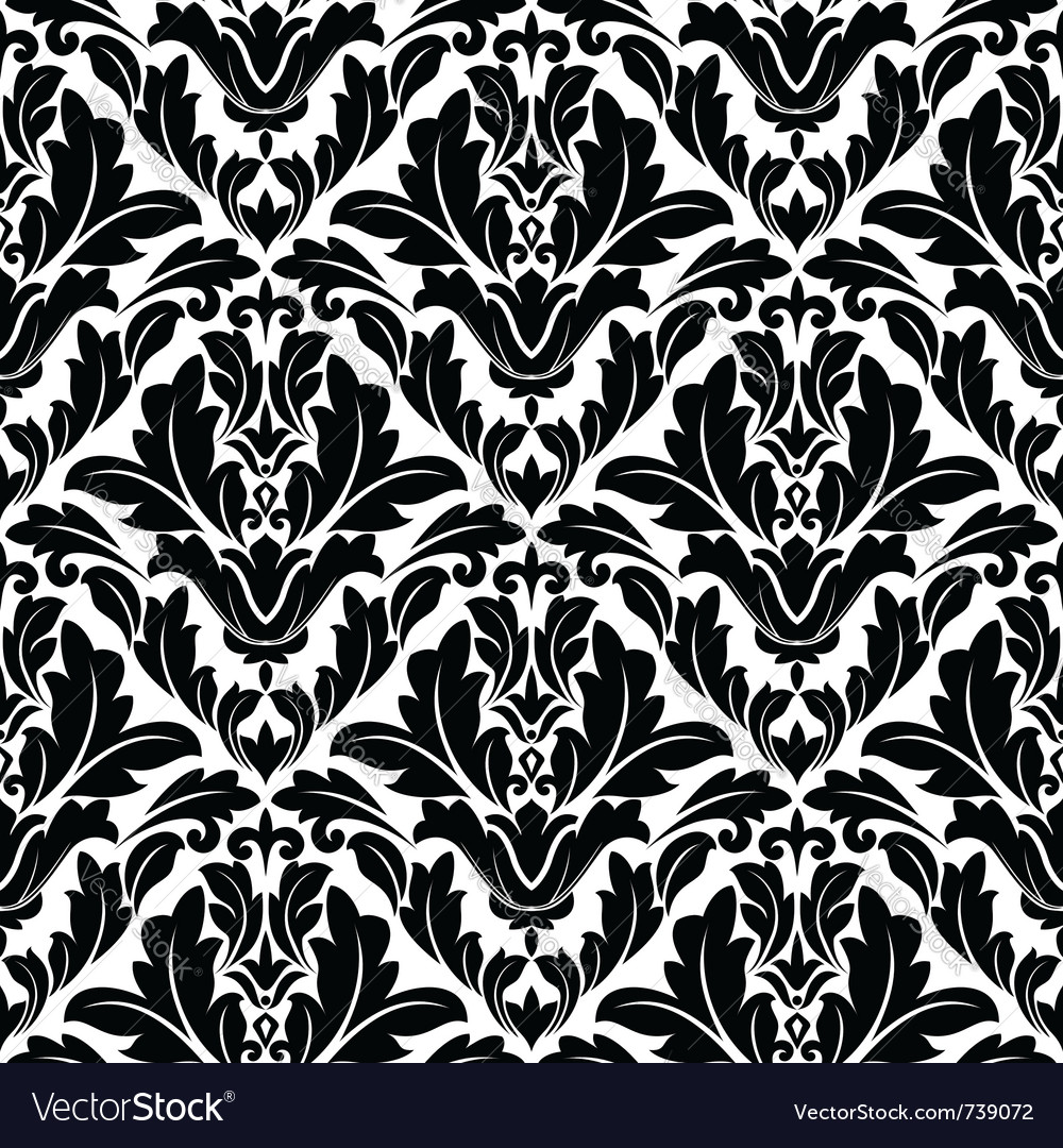 Retro seamless flourish pattern in damask style vector | Price: 1 Credit (USD $1)
