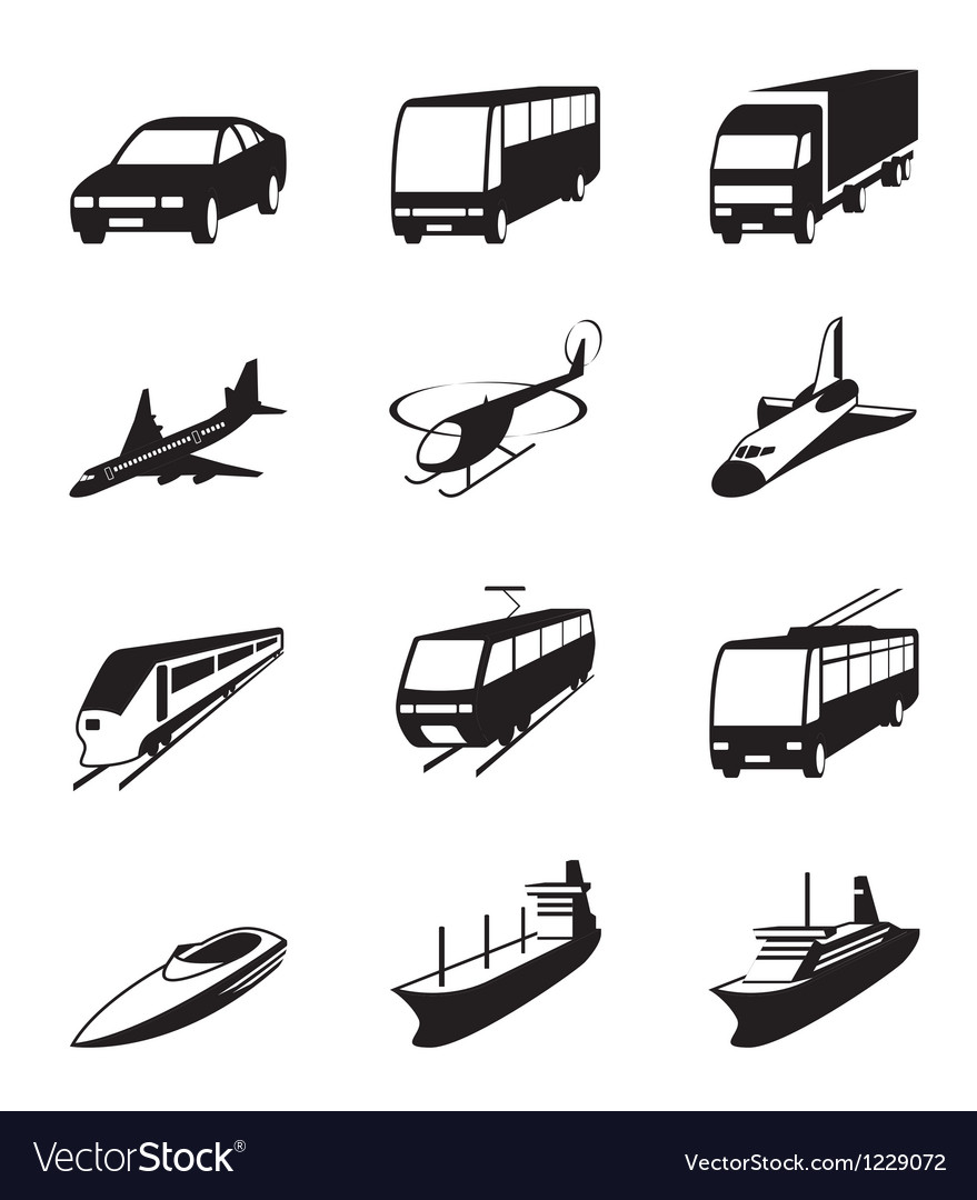 Road sea and space transportation icons set vector | Price: 1 Credit (USD $1)