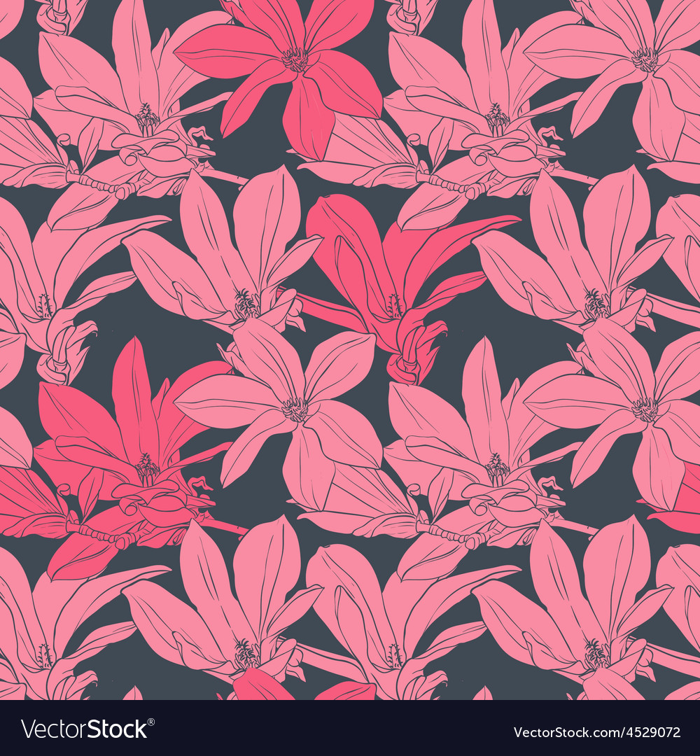 Seamless pattern with pink magnolia vector | Price: 1 Credit (USD $1)