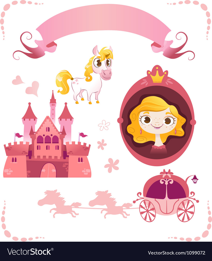 Set of pink princess tale vector | Price: 3 Credit (USD $3)