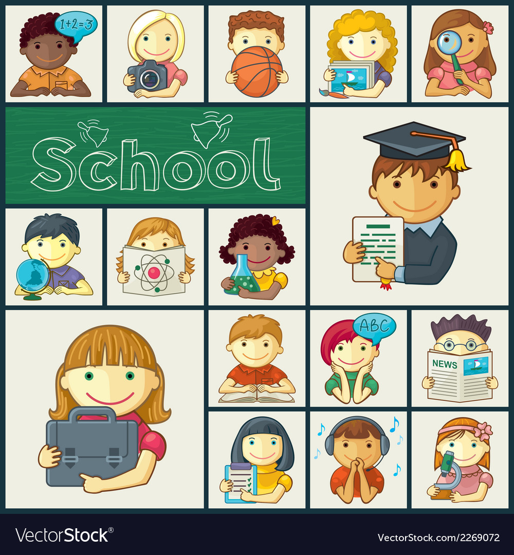 Set of school icons with kids vector | Price: 1 Credit (USD $1)