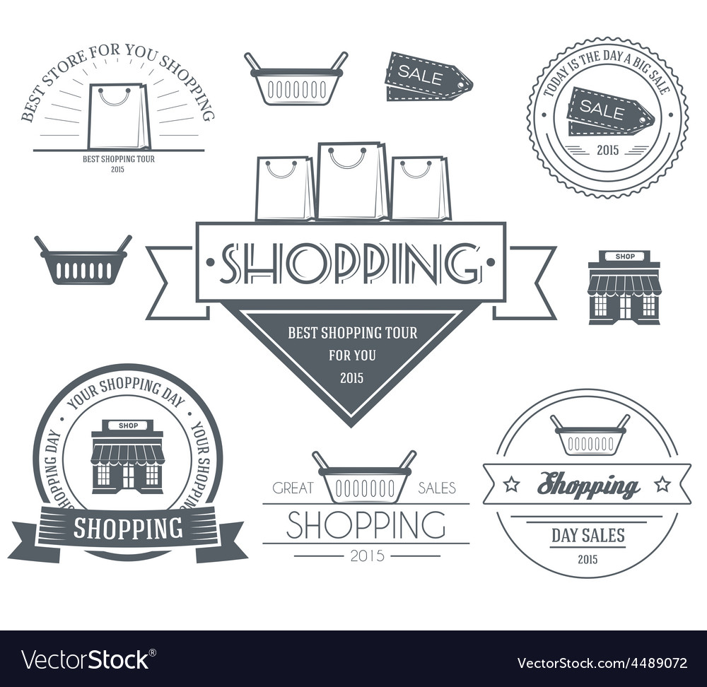 Shopping set label template of emblem element for vector | Price: 1 Credit (USD $1)