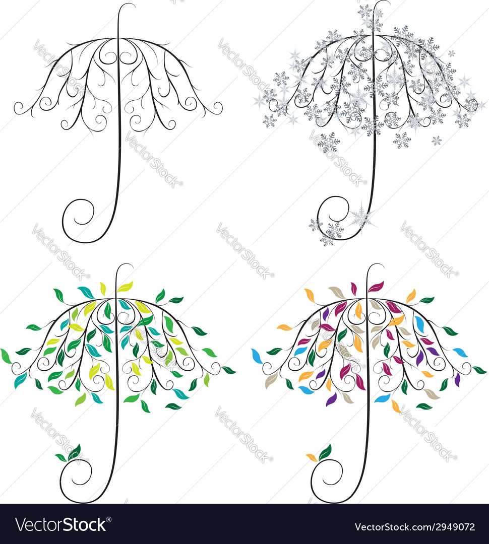 Umbrella shape tree2 vector | Price: 1 Credit (USD $1)