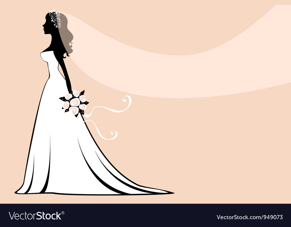 Beautiful silhouette bride vector | Price: 1 Credit (USD $1)