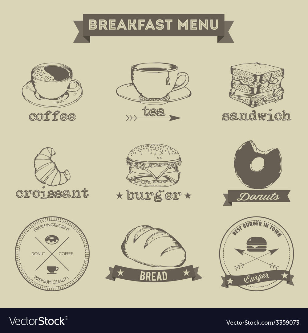 Breakfast menu hand drawing style vector | Price: 1 Credit (USD $1)