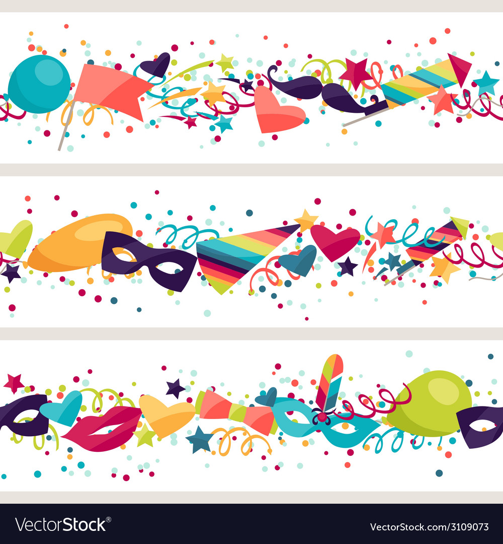 Celebration seamless pattern with carnival icons vector | Price: 1 Credit (USD $1)