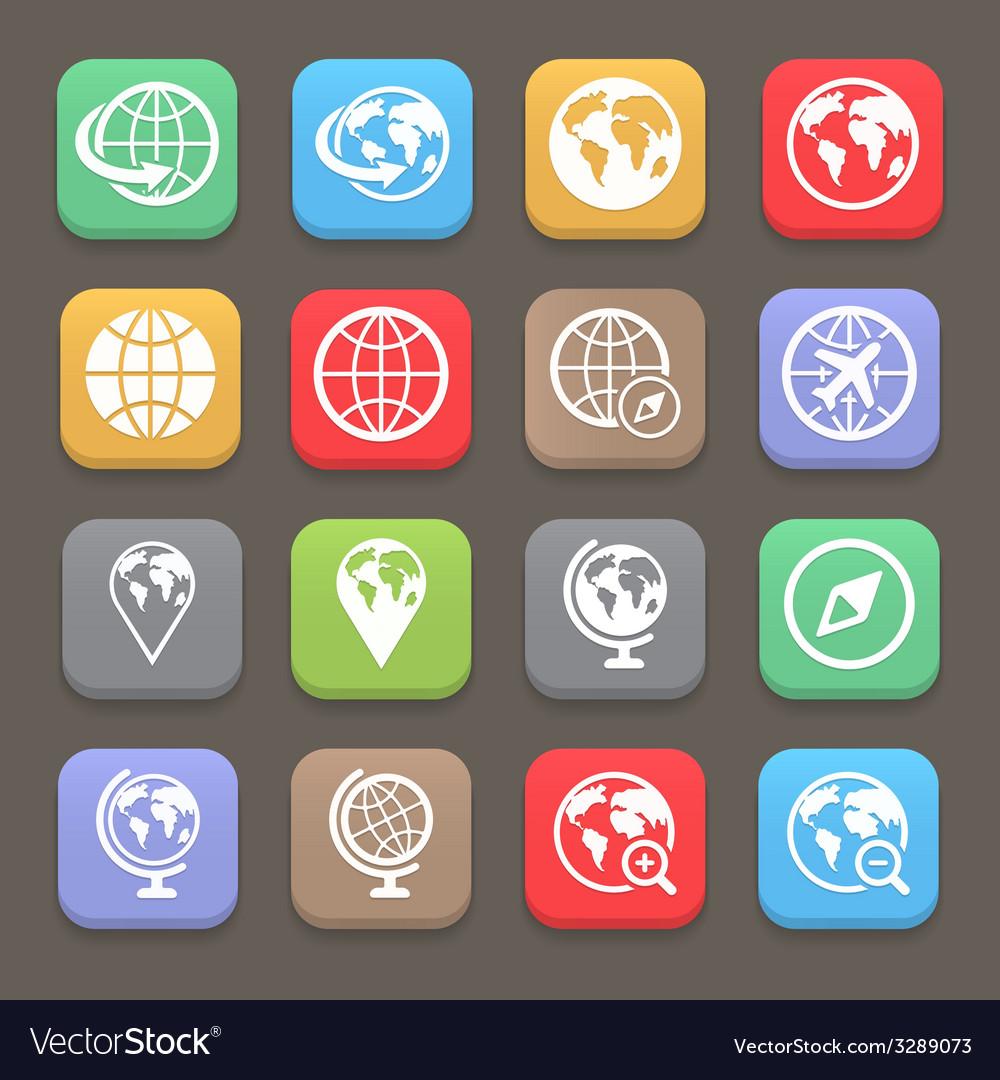 Globe earth flat icon set vector   Price: 1 Credit (USD $1)