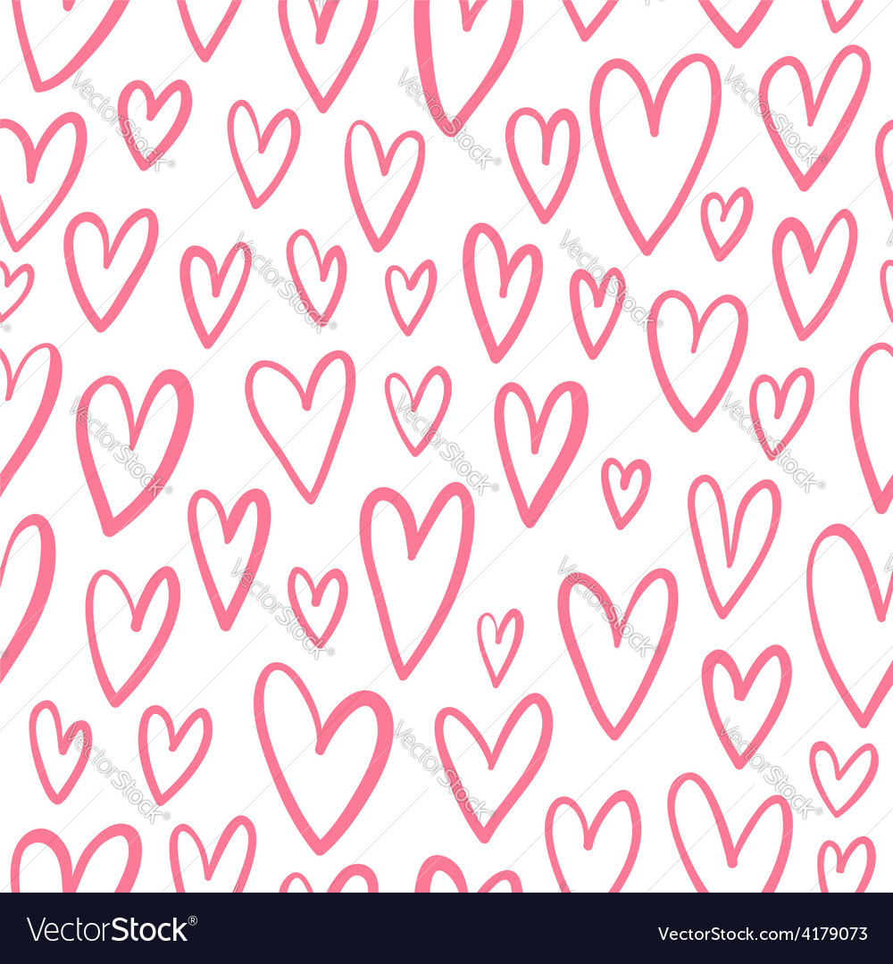 Hand drawn doodled hearts seamless pattern vector | Price: 1 Credit (USD $1)