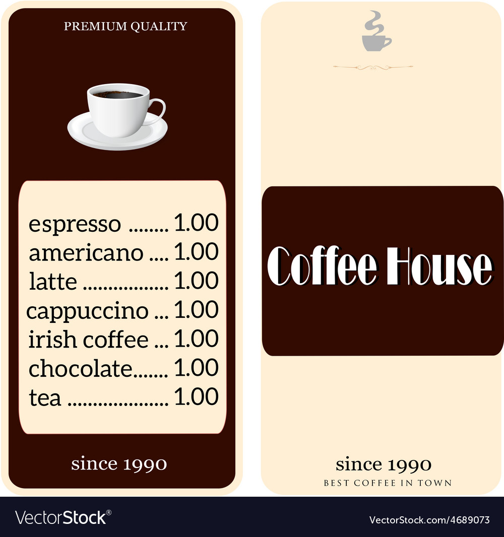 Menu for coffee shop vector | Price: 1 Credit (USD $1)