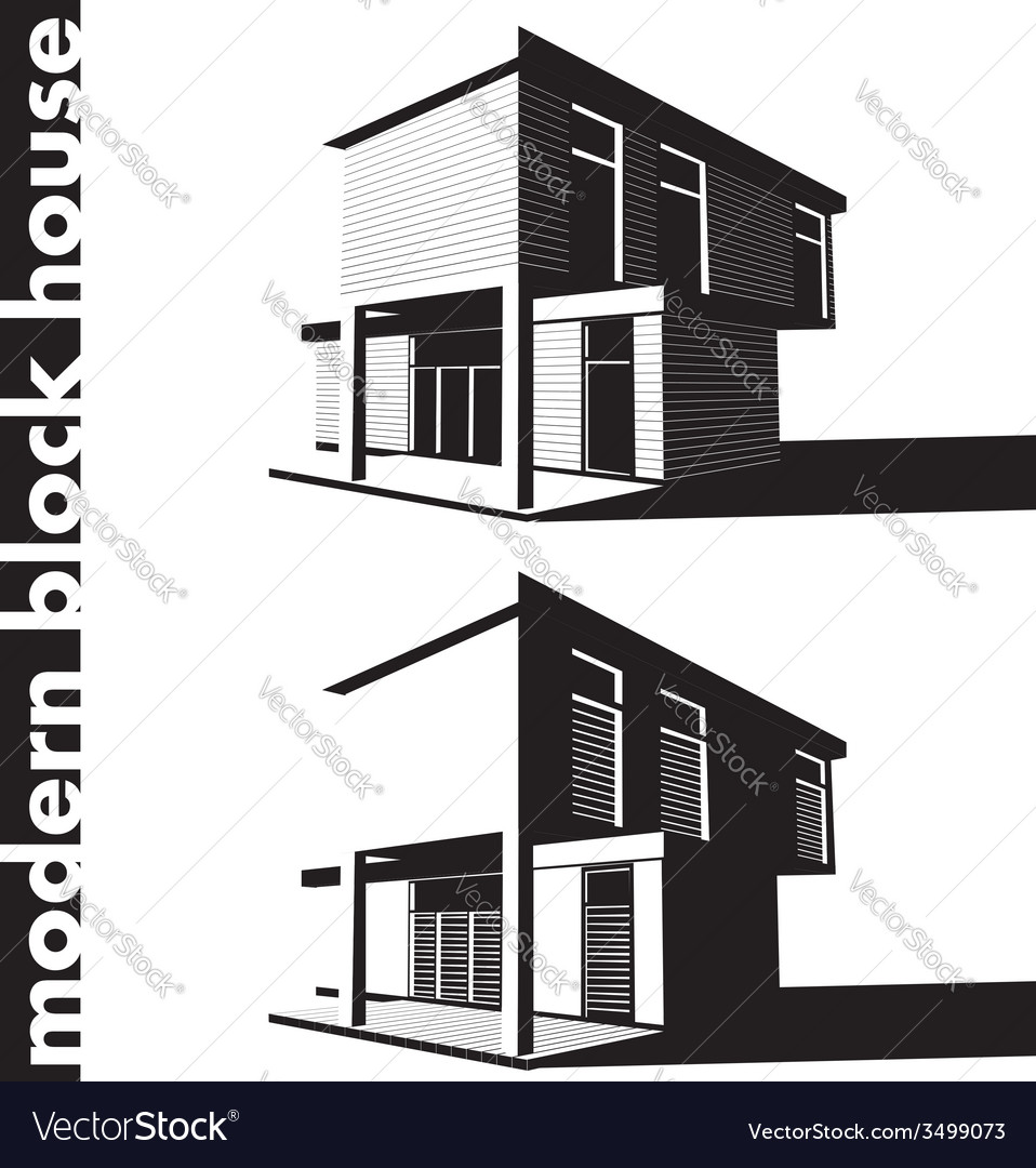 Modern block house vector | Price: 1 Credit (USD $1)
