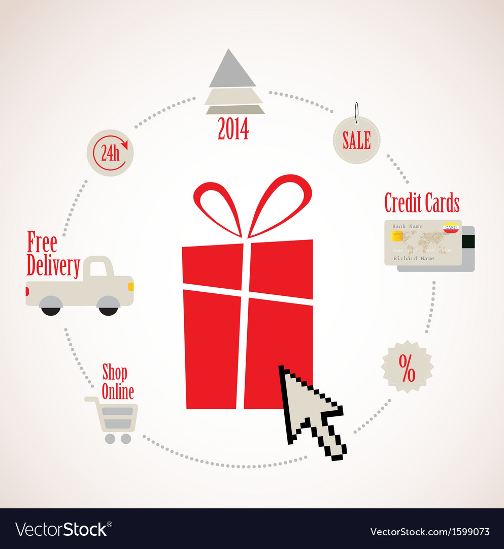 Present with e-commerce icon around online vector | Price: 1 Credit (USD $1)