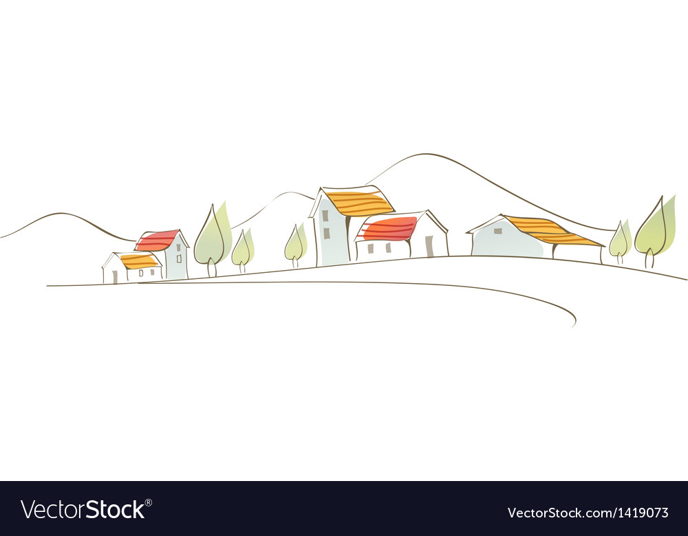 Rural houses on landscape vector | Price: 1 Credit (USD $1)