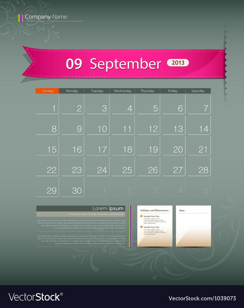 September 2013 calendar vector | Price: 1 Credit (USD $1)