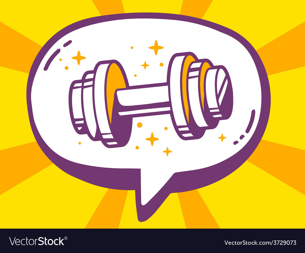 Speech bubble with icon of dumbbell on ye vector | Price: 1 Credit (USD $1)