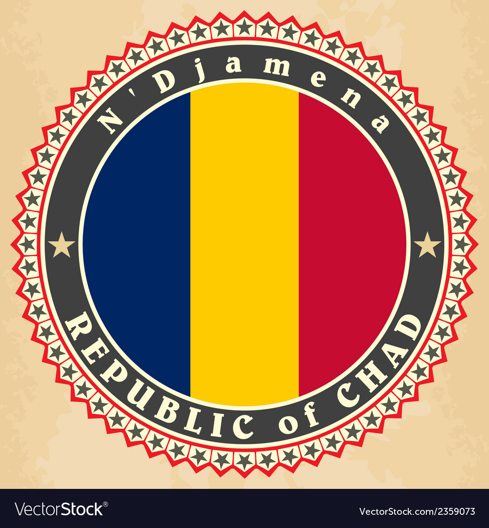 Vintage label cards of chad flag vector | Price: 1 Credit (USD $1)