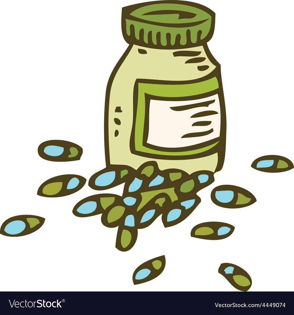 Bottle with capsules vector