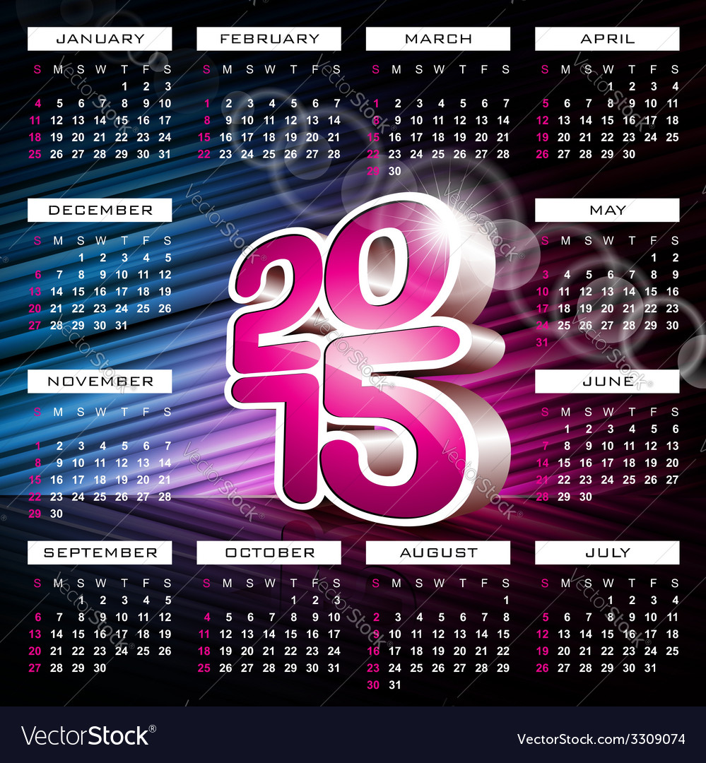 Calendar 2015 design on abstract color background vector | Price: 1 Credit (USD $1)