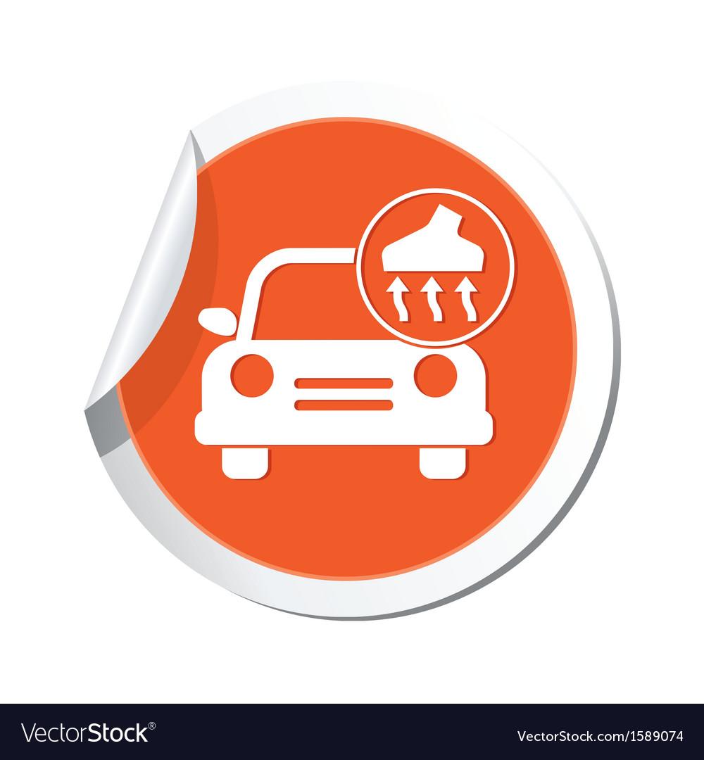 Car with vacuum cleaner icon orange label vector | Price: 1 Credit (USD $1)