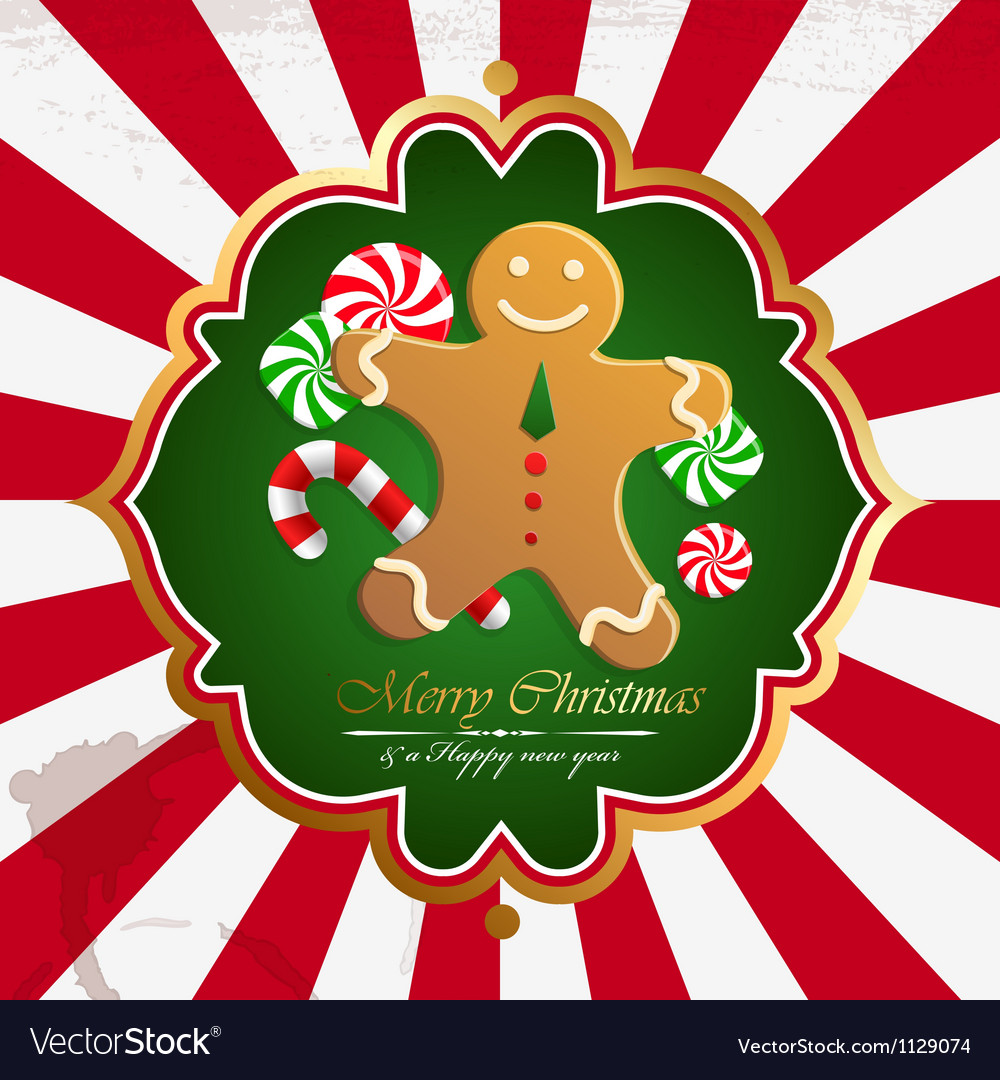 Christmas vintage background with cookies vector