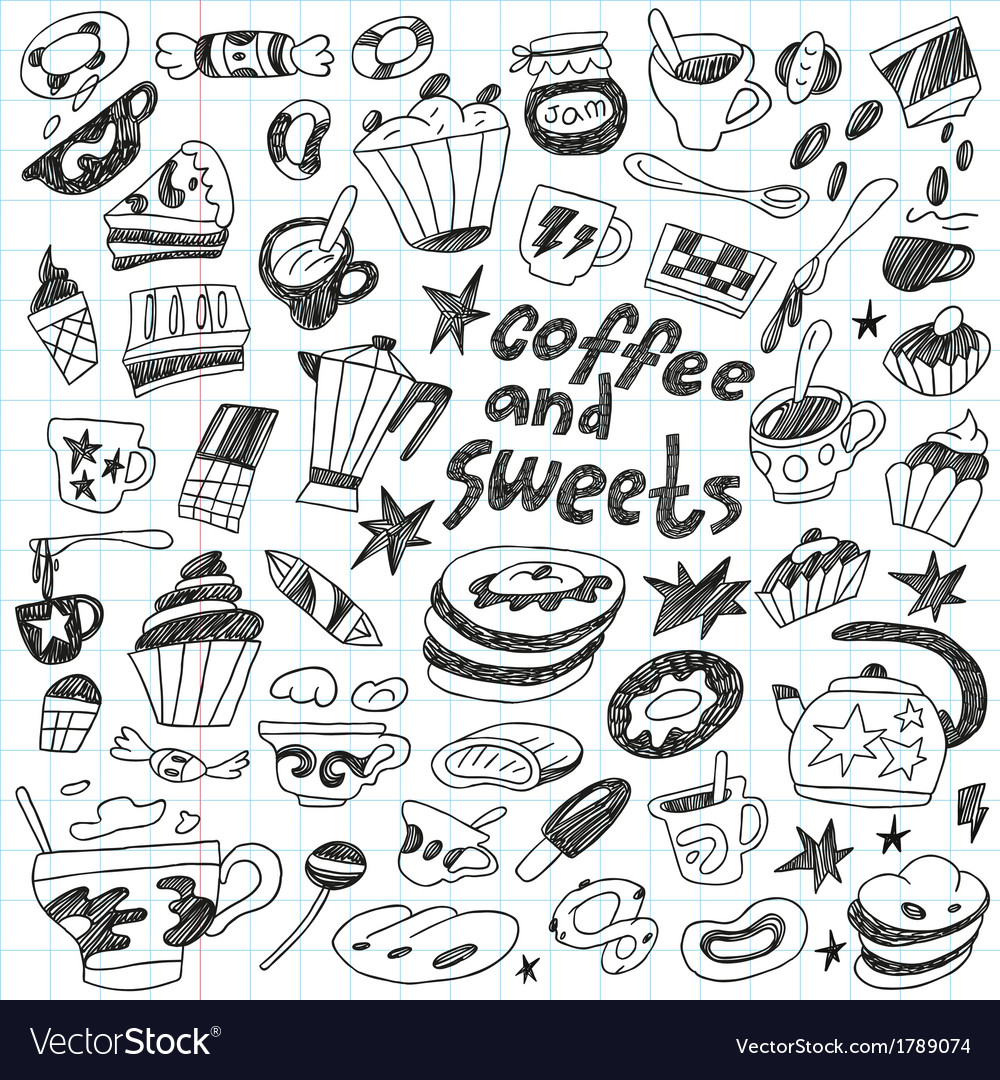 Coffee and sweets - doodles collection vector | Price: 1 Credit (USD $1)