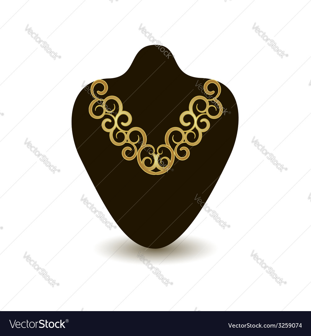 Gold necklace on a black mannequin vector | Price: 1 Credit (USD $1)