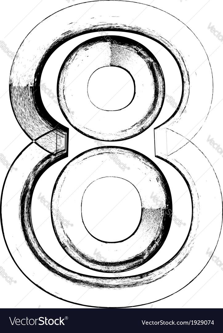Grunge font number 8 vector | Price: 1 Credit (USD $1)