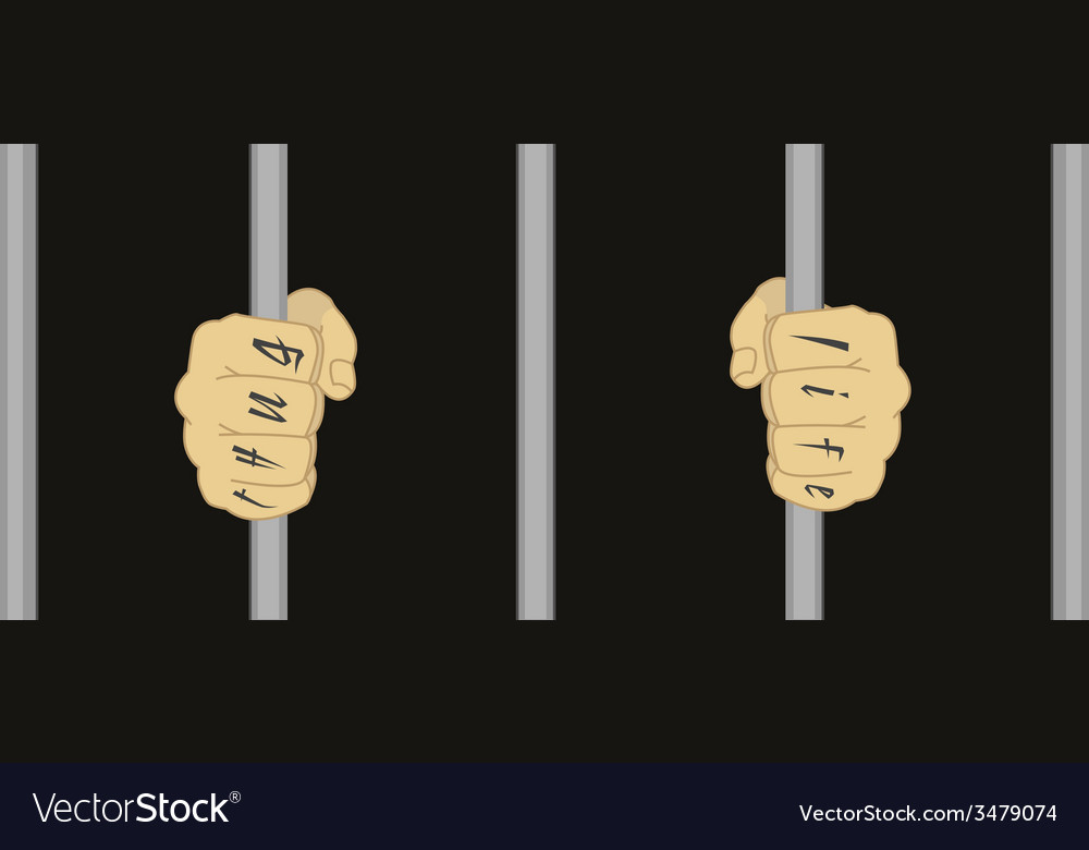 Hands with tattoo holding prison bars vector | Price: 1 Credit (USD $1)