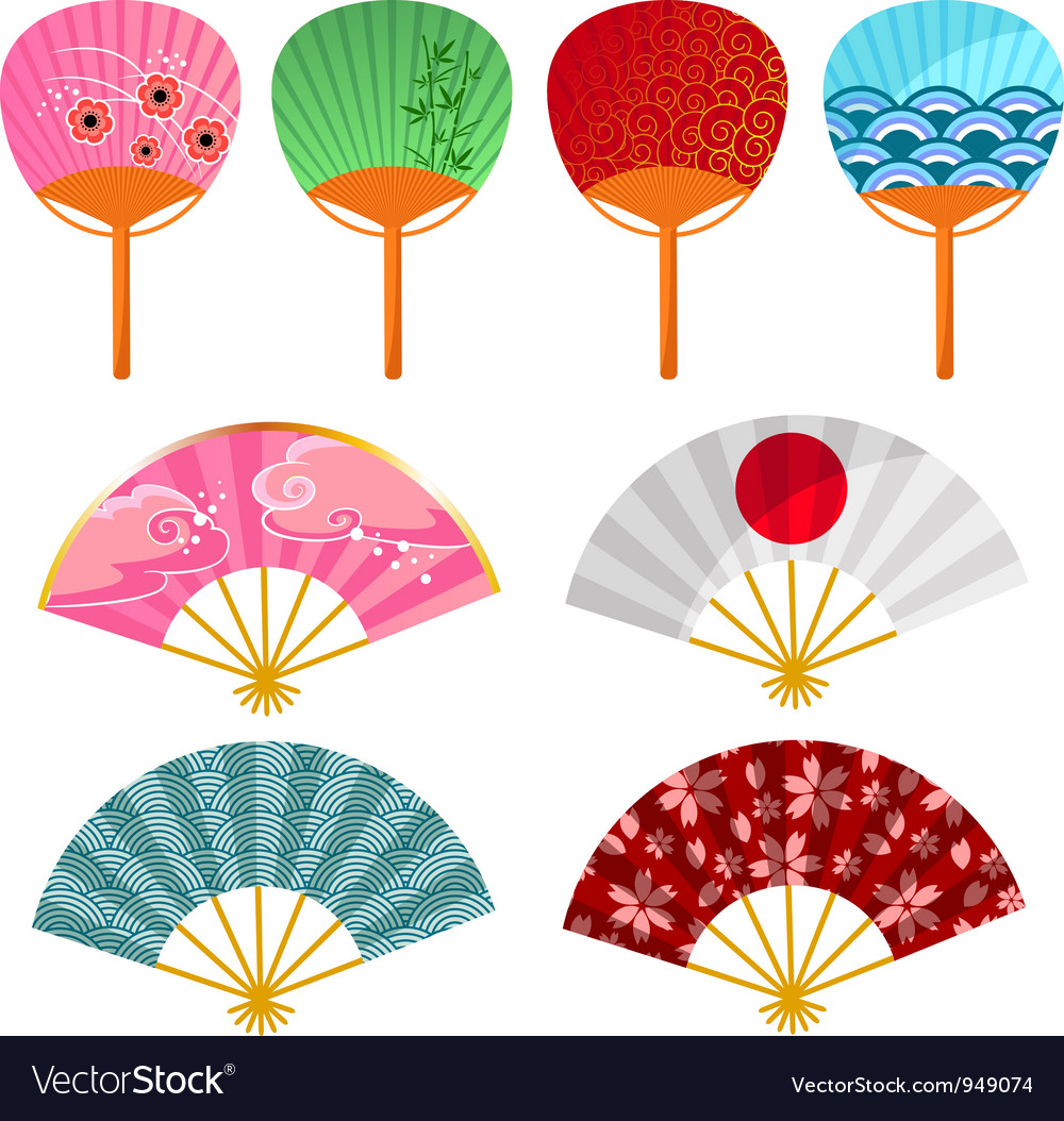 Japanese fans vector | Price: 1 Credit (USD $1)